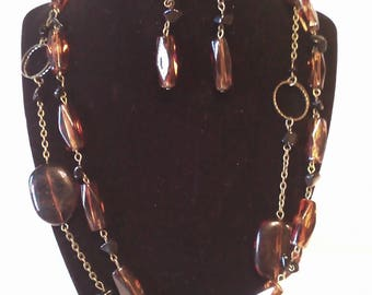 Brown & Gold 2 Pc. Costume Jewelry Set