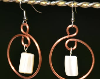 Handmade recycled copper earrings with vintage shell