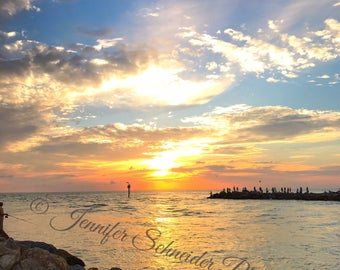 Gulf Coast Jetty Sunset