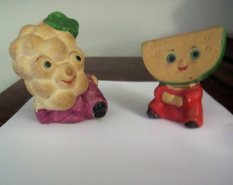 Vintage Anthropomorphic Apple and Grape Salt and Pepper Shakers.