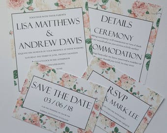 Invitation, RSVP and Save the Date, Pink Floral Wedding Stationery