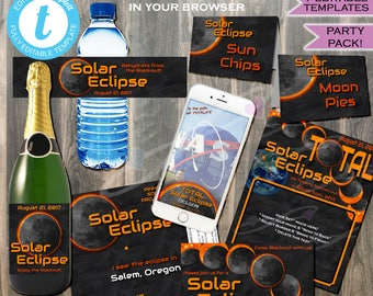 Solar Eclipse Party Supplies Bundle! Total Solar Eclipse 2017- Sun Moon Party Supply- Custom Printable Template Party Kit INSTANT EDITABLE