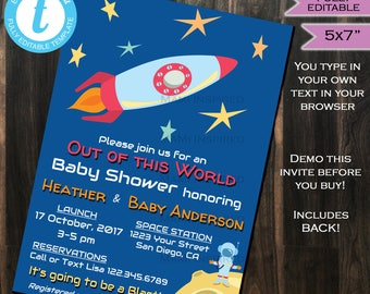 Space Baby Shower Invitation- Baby Sprinkle Party Invite Earth Moon Out of this World Template Printable Custom INSTANT Self EDITABLE 5x7