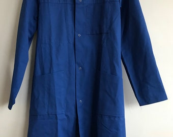 French vintage Blue, garage workwear,Size S/M overalls, garage-coat, overalls, bleu de travail,Sanfor Moleskin Denim Salopettes