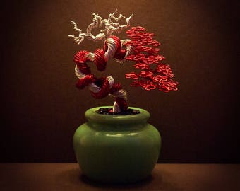 Wire Bonsai #44 - A red and silver 'deadwood wrap'
