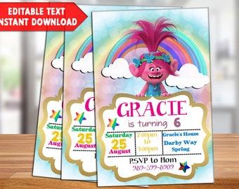 INSTANT DOWNLOAD-Trolls Birthday Party, Trolls Invitation, Trolls Birthday Invitation, Trolls Cartoon, Trolls, PDF Invitation, Digital File