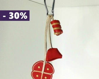Pendants candy red leather bag charm