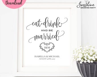 Eat Drink and Be Married, Wedding Sign, Wedding Cards Sign, Wedding Decor, Digital Download, Digital Wedding Sign, Wedding Sign, SKU#SIGN016