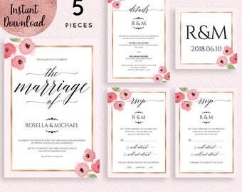 Floral Gold Foil Frame Wedding Invitation Suite Template, Printable Pink Floral Wedding Invitation Kit, Editable Invitation Digital Download