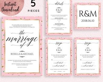Floral Pink Gold Foil Wedding Invitation Suite Template, Printable 5x7 Wedding Invitation Kit Template, Editable PDF files, Digital Download