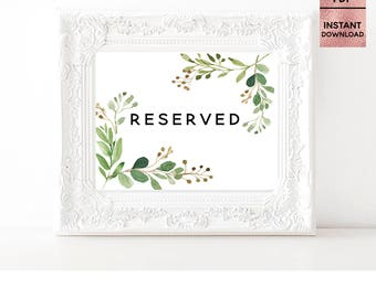 Green Leaves Reserved Card Wedding Table Sign, Printable 5x7 8x10 Script Font Wedding Sign, Wedding Ceremony, JPEG, PDF, Digital Download