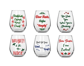 Set of 6 Christmas Wine Glass Designs - Wine Glass - Decal - Digital Cut File - INSTANT DOWNLOAD for silhouette studio, png, pdf & svg