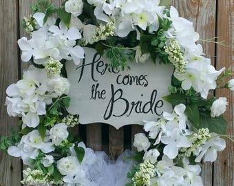 Wedding Wreath For Door-Bridal Shower Wreath- Wedding Wreath- Bridal Shower Decoration- Bridal Shower Gift-Bridal Shower Floral- Bridal Gift