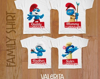 4 Smurfs birthday shirt, Birthday family shirt, Smurfs birthday shirt, Smurfs party, Smurfs iron on transfer, family shirts, Smurfs iron on