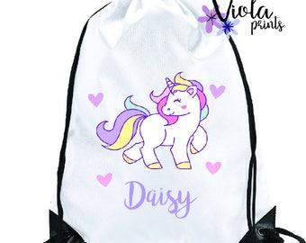 Personalised Unicorn PE Bag, Ballet Bag, Swim Bag, School Bag, Gym Bag, Childrens Bag Back to School