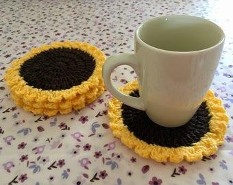 Set of sunflower coasters, crochet sunflower coasters