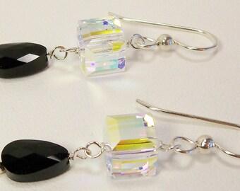 Swarovski Crystal Earrings, Black Crystal and Crystal AB Cube Earrings, Jet Black Swarovski, Aurora Borealis, Handmade, Sterling Silver