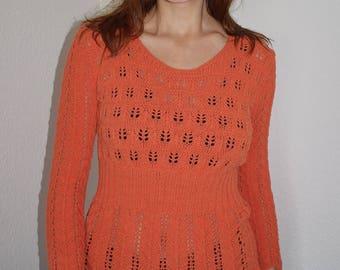 Ladies sweater, Pullover unique, pullover handknitted, ladies sweater handmade, ladies sweater orange
