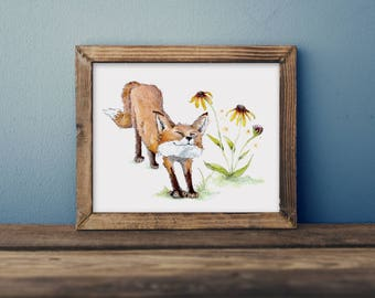 Fergus the fox- children's watercolor print