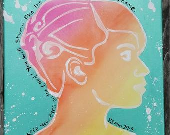 metallic acrylic & watercolor profile of Psalm woman