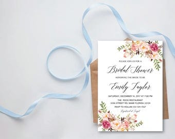 Bridal Shower Invitation, Printable Bridal Shower, Boho Bridal Shower, Instant Download, Flower Bridal Shower, ABR-05