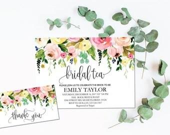 Printable Bridal Tea Party Invitation, Bridal Tea Invite Template,  Flower Bridal Tea Bridal Tea, Bridal Tea Party, INSTANT DOWNLOAD, BR-F1