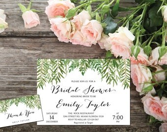 Bridal Shower Invitation, Greenery Wedding Printable , Greenery Bridal,Printable Bridal Shower Invitation, Greenery, Instant Download, ABR06