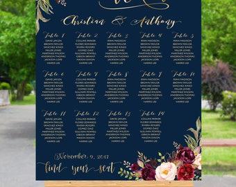 Wedding Seating Chart Template, Boho Wedding Seating Chart, Wedding Seating Chart, Seating Chart Alphabet, Navy Seating chart, SC92-Navy