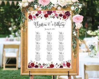Wedding Seating Chart, Poster wedding seating chart, Wedding Table seating, Navy seating chart, seating chart alphabet, seating chart, #141