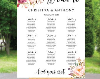 Wedding Seating Chart, Poster wedding seating chart, Wedding Table seating, Navy seating chart, seating chart alphabet, seating chart, #142