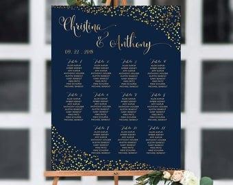PRINTABLE Wedding Seating Chart, Gold Polka Dots Confetti seating chart, Navy wedding seating chart, Wedding seating chart template, #SC168