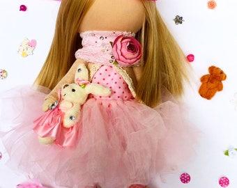 Textile doll Handmade doll Fabric doll Tilda doll Rose doll Soft doll Cloth doll Collectable doll Rag doll Interior doll Princess doll
