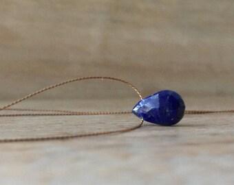 Lapis lazuli Necklace Sterling Silver Lapis lazuli Pendant 14K Gold Filled Lapis Jewelry Silk Cord Gemstone Necklace September Birthstone