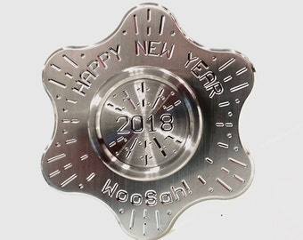 R188 Cosmo 'Happy New Year' Elite Stainless Steel  w/SS '2018' Caps! - WooSah USA High Quality Spinner