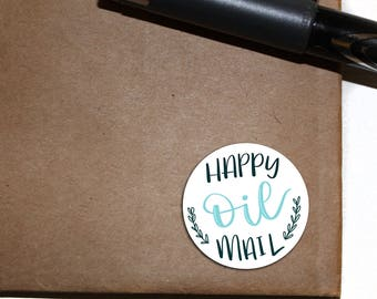 Happy Mail Stickers - Letter Seals - blue - circle sticker - essential oil - 2.5 inch round