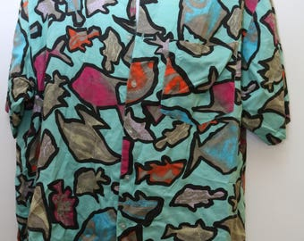 "Rare 90's Vintage ""UNIONBAY"" Abstract Patterned Short-Sleeve Colorful Funky Shirt Sz: SMALL (Men's Exclusive)"