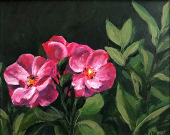 "Floral Painting- ""Pink flowers""- Original Acrylic Painting"