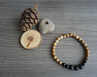 gemstone bracelet, diffuser bracelet, jasper bracelet, beaded bracelet
