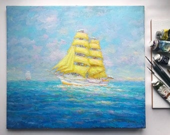 Sailboat seascape painting Original oil painting oil on canvas ocean painting home wall living room bedroom nursery interior decor Sailer