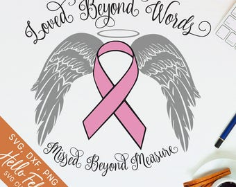 Memorial Svg, Loved Beyond Words Svg, Angel Wings Svg, Awareness Ribbon Svg, Png, Dxf, Svg files for Cricut, Silhouette Svg, Vector Clip Art
