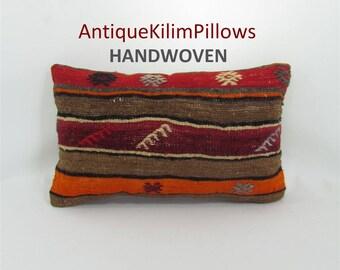 embroidered pillow kilim pillow 12x20 lumbar pillow sofa furniture pillow living room decor decorative pillows 001379