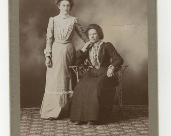Antique 1890's Cabinet Card of two beautiful young Victorian Women Found Photos