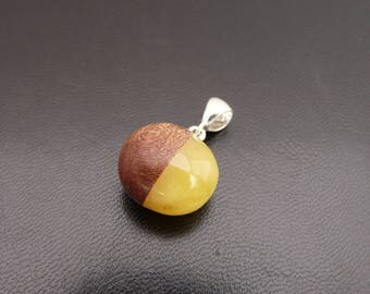 Natural Baltic Amber, Wood and Amber Pendant, Sterling Silver, Amber Jewellery, Handmade, White Amber Stone, Amber and Silver Jewelry