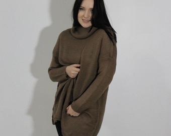 Oversize pullover, Women's sweater, Jumper, Loose knitted, Coffee, Turtleneck, Cosy, Comfy