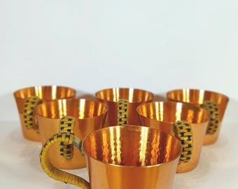 Cups - Metal small cups - Set of six glasses - Gold finish - Metal cups - Hot brandy - 1980s