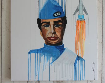 Thunderbirds are go... Scott Tracy Painting - Original one of a kind hand painted on canvas
