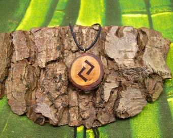"Soul slices ""Rune Jera"" wooden necklace, Vintage * Ethno * hippie * MUST have * statement *"