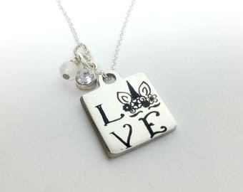 Love Unicorn Word Charm Necklace