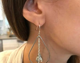 Hoop earrings, silver chain dangles, crystal glass briolette dangles