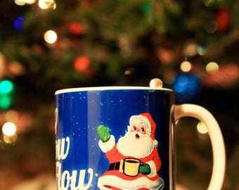 Santa Mug, Christmas Mug, Coffee Cup, Holiday Mug, Retro Mug